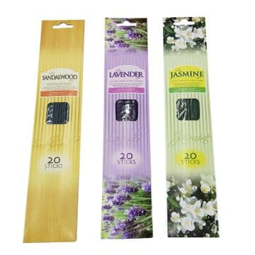 3 packs x 1 each SANDALWOOD, LAVENDER AND JASMINE INCENSE STICKS 60 sticks total